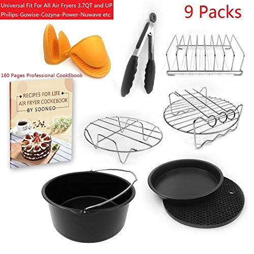 Universal Air Fryer Accessories 7 Inches Pizza Pan Cake Barrel Skewer Rack Silicone Mat Kitchen Tong Metal Holder Toast Rack Pinch Mitts Cook Ebook Fit All 3.7QT &5.3QT &5.8QT By EBIGIC