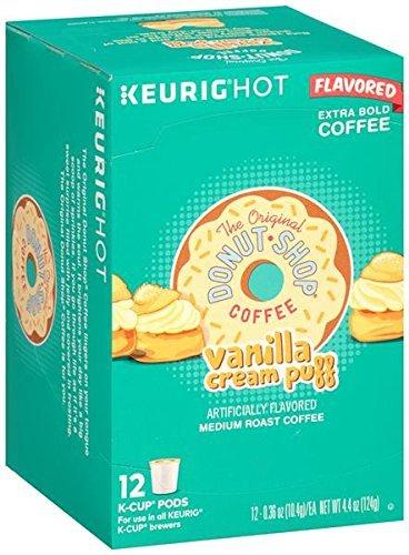 Coffee Puffs - Donut Shop Vanilla Cream Puff Coffee - 12 Keurig K-Cups (Pack of 2)