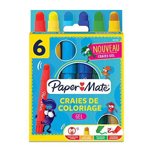 Paper Mate 2027582 Youth Art Gel Lot de6 Crayons de couleur, pointe épaisse Couleurs Assorties