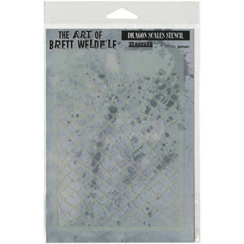 Stampers Anonymous Brett Weldele Dragon Scales Stencil Collection, 6 x 4.5