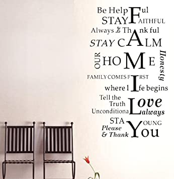 FAMILY Vertical Multiple Word Wall Sticker Decal Home Art Mural  Self Adhesive Transfer Film Wallpaper