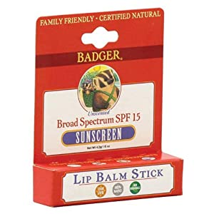 Badger Sunscreen Lip Balm with SPF 15 - .15 oz Stick