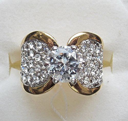 SIZE 7 Ladies FASHION Cocktail RING w 18 KGE Gold Plate BAND w Round Cubic Center & Small Cubic Stones Pave Set on Each Side