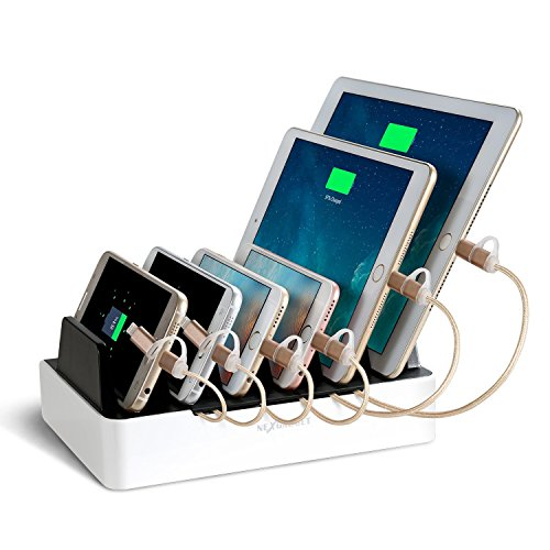 NEXGADGET 6-Port USB Charging Station [40W/2.4A Max Charging Dock] 2-In-1 Desktop Charging Stand Organizer And Portable Travel USB Charger For Smartphone Tablet And More