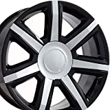 22 rims escalade - 22x9 Wheels Fit GM Trucks - Cadillac Escalade Style Rims - Black w/Chrome Inserts - SET