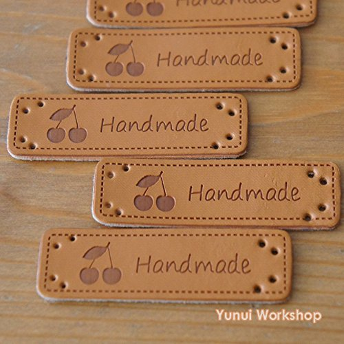 5pcs / 20pcs: Synthetic PU Leather Label Handmade and Fruit Cherry Motif with Holes 15mm x 50mm Sewing Embellishment Knit DIY (Brown, 20pcs)