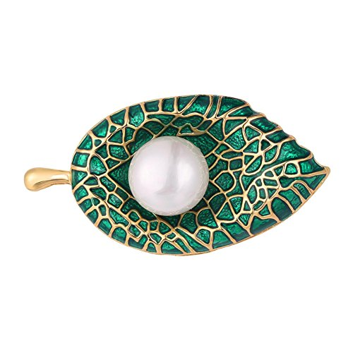 U7 Cute Leaf Brooch with a Pearl Women Accessories Gold Plated Pin Green Enamel Brooches - Gold Plated Leaf Brooch