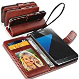 SAMSUNG GALAXY S3 MINI - GBOS® Genuine Real Rich Leather Stand Wallet Flip Case Cover / Quality Slip Pouch / Soft Phone Bag (Specially Manufactured - Premium Quality) Antique Leather Case ( Brown )