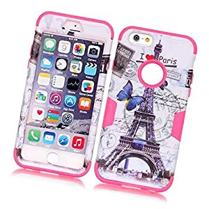 Fabcov Packing Paris Tower Rugged Dual Layer Hybrid Hot Pink Rubber Cover Case For iPhone 6 6G