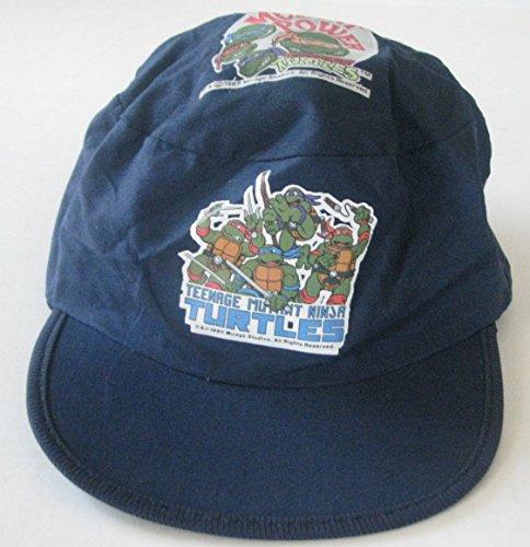 [Vintage 1990 Blue Teenage Mutant Ninja Turtles Cadet Cap- Adult Size] (Ninja Turtle 1990 Costume)