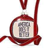 Christmas Decoration America Does It Better Fourth of July Aging Vintage Blue Ornament