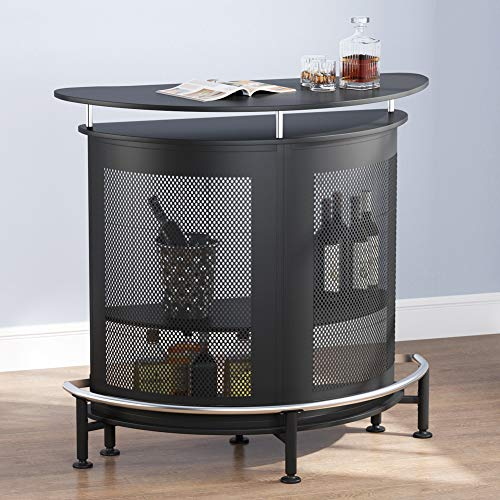 Tribesigns Bar Unit with Metal Mesh Front, Home Liquor Bar Table with Storage and Footrest, Black