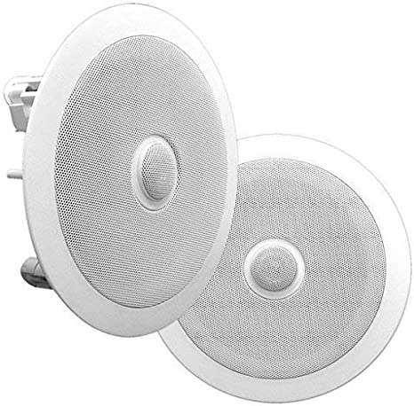 Pyle PDIC80 Home Ceiling Speaker System Wall Mount Speakers Pair 2 Way Midbass Woofer Speaker White