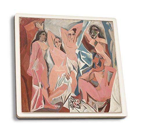 Les Demoiselles d'Avignon (Artist: Pablo Picasso) c.1907 - Masterpiece Classic (Set of 4 Ceramic Coasters - Cork-Backed, Absorbent) ()