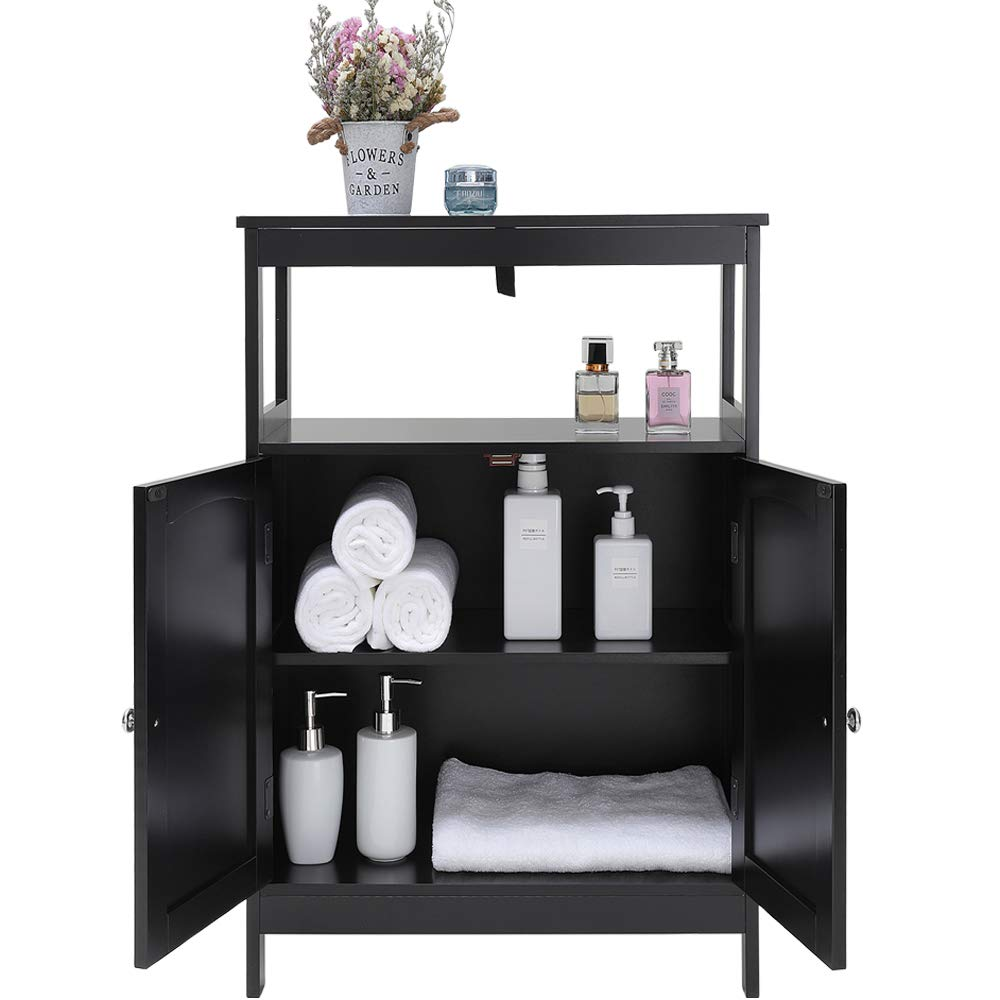 Iwell Black Bathroom Floor Storage Cabinet With 1