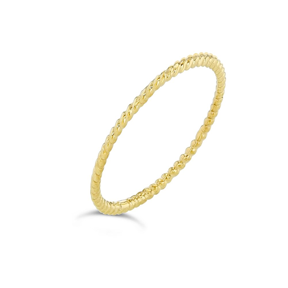 Dainty 10k Yellow Gold Stackable Thin Rope Ring (Size 6)