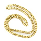 10k Yellow Gold Hollow Links 6mm Miami Cuban Link Chain Necklace, 20
