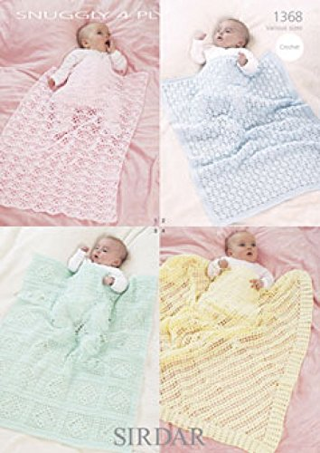 Sirdar Snuggly 4ply Baby Shawl Blanket Crochet Pattern 1368 Amazon