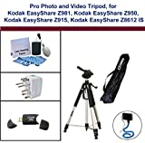 Photo and Video Tripod for Kodak EasyShare Z981, Kodak EasyShare Z950, Kodak EasyShare Z915, Kodak EasyShare Z8612 IS including; Monopad, USB Card Reader, Universal Adapter and 5PC Lens Cleaning Kit