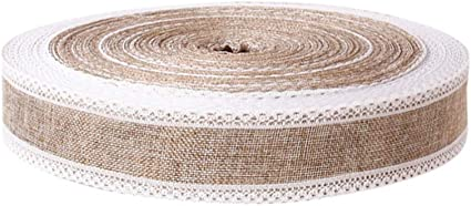 STOBOK nastro di iuta nastro di juta nastro con pizzo bianco fai da te nastro per fiocchi di natale confezione regalo rustico decorazione di nozze 200x5 cm