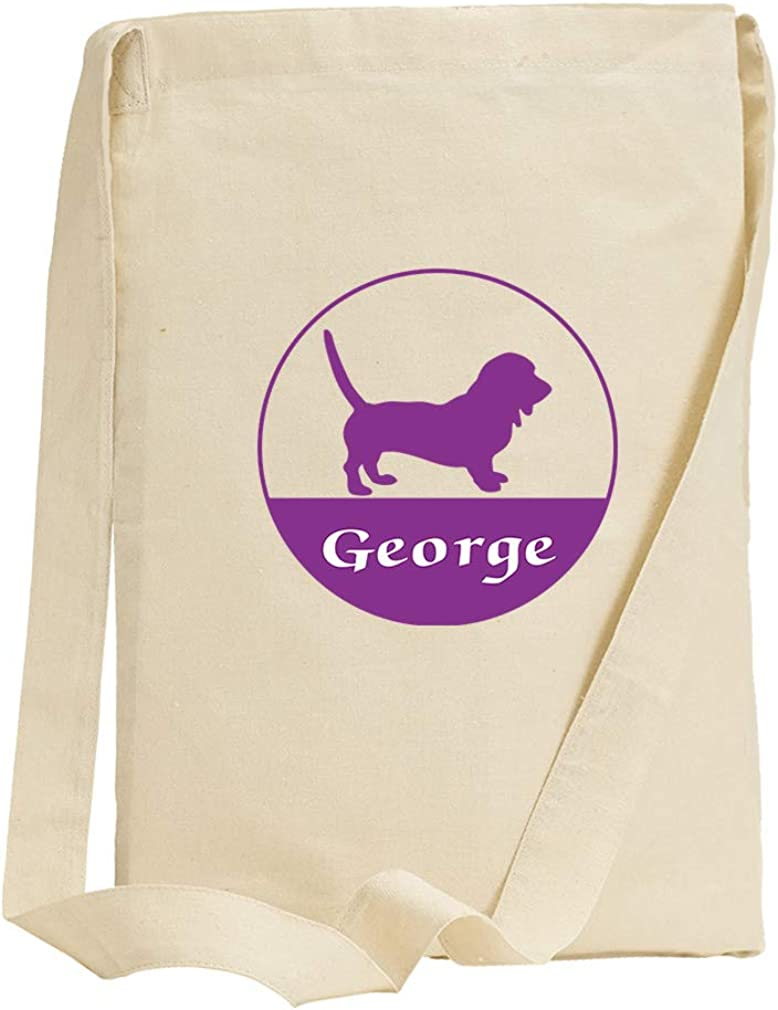 Personalized Custom Text Dog Name Animals Pets Cotton Canvas Sling Tote Bag