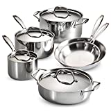 quality stainless steel cookware - Tramontina 80116/248DS Gourmet Stainless Steel Induction-Ready Tri-Ply Clad 10-Piece Cookware Set, NSF-Certified, Made in Brazil