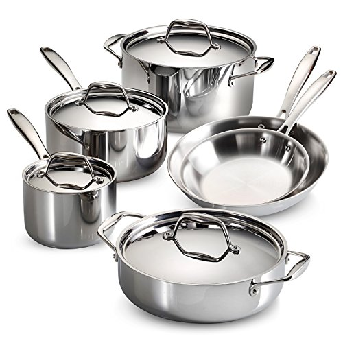 Tramontina 80116/248DS Gourmet Stainless Steel Induction-Ready Tri-Ply Clad 10-Piece Cookware Set, NSF-Certified, Made in - Pans Pots And Gourmet