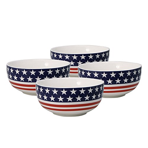 Pfaltzgraff American Flag Soup Cereal Bowl (26-Ounce, Set of 4) -