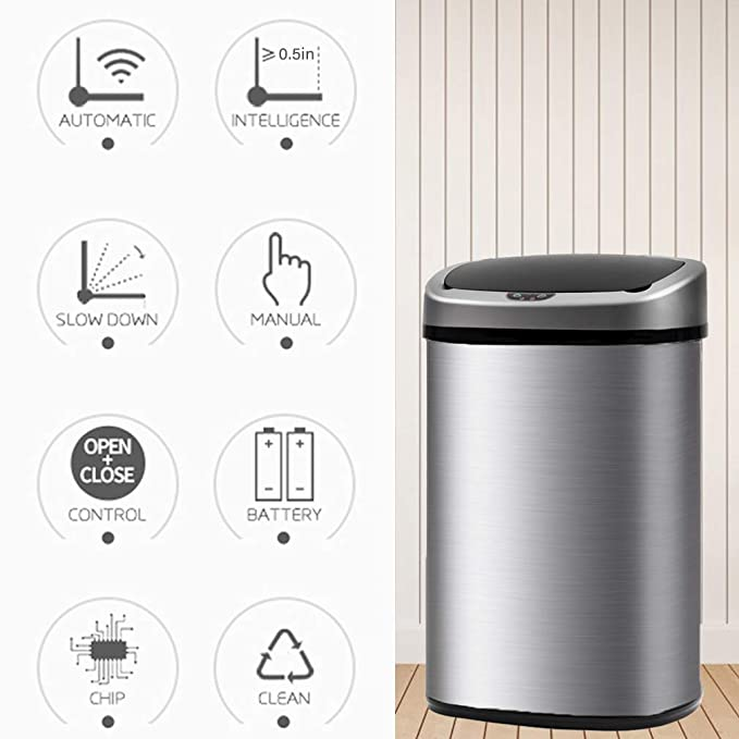 BestOffice Budget Stainless Steel Touchless Trash Can