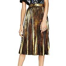 ACHICGIRL Women's Fashion Metallic Sparkle Pleated Midi Skirt
