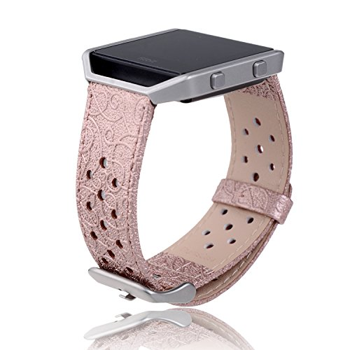 Fitbit Blaze Smart Fitness Watch Band,Thankscase Genuine Leather Strap Wrist Band Replacement,Top Quality Spring Bar and Beautiful Embossed Pattern for Fitbit Blaze Smart Fitness Watch.(Rose Sport)