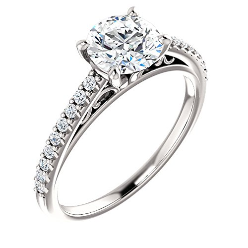 (Forever One Moissanite Near Colorless & Diamond Engagement Ring in 14k White or Yellow Gold (white-gold, 8.5))