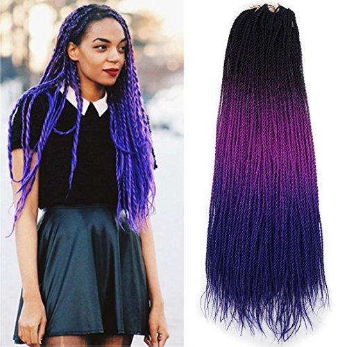 Blue Star Synthetic (Ombre Senegalese twist 2x Kanekalon Synthetic crochet braiding hair 5 packs/lot 24inch (black purple blue))