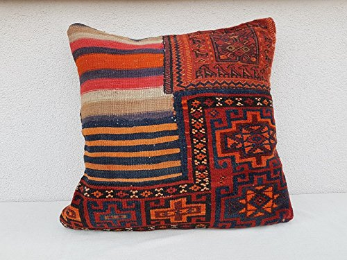 24x24 Vintage Turkish Handmade Unique Pattern Large Boho Kilim Rug Pillow Cover