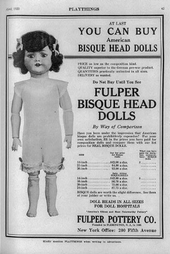 Photo: Fulper Bisque Head,Playthings Magazine,dolls,1910-1929