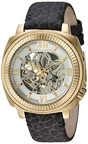 Vince-Camuto-Mens-VC1091SVGP-Automatic-Gold-Tone-and-Grey-Leather-Strap-Watch