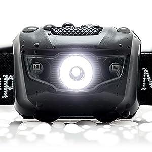 LED Light Bar Headlamp - Camping - Running - Hiking Flashlight 150 Lumens Waterproof (IPX4) White Cree LED + Red Light, Ultra Lightweight with Adjustable Headband by kampMATE by kampMATE