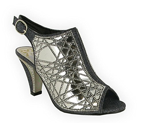 Sexy Sonia Wedding Diamantes Comfort LSA-6057 Smart Casual Party Caged Sandals (UK 6, Black)