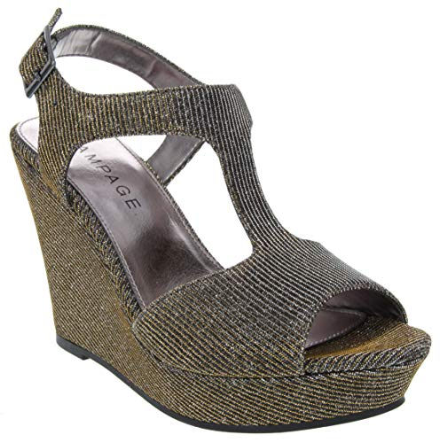 Rampage Women's Candelas Wedge Sandal Antique Bronze Glitter mesh 10 M US