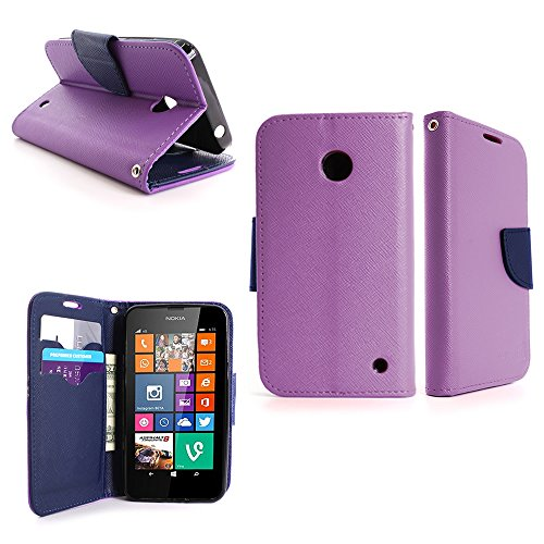 Nokia Lumia 635 Wallet Phone Case and Screen Protector | CoverON (CarryAll) Pouch Series | Tough Textured Exterior (Purple / Navy Blue) Flip Stand Cover with Credit Card and Cash - 635 For Nokia Cases Girls Phone