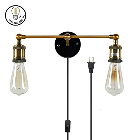 Kiven Occident Style Double Head Wall Sconces The Retro Copper Head Shops Decorative  Wall Lamps,