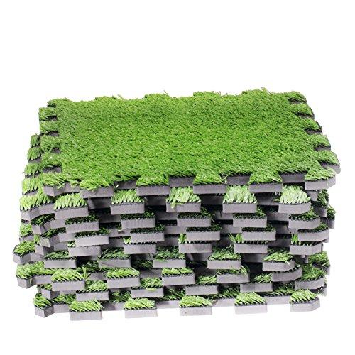 Edge Interlocking Grass Deck Tiles: Square Artificial Grass Carpet ...