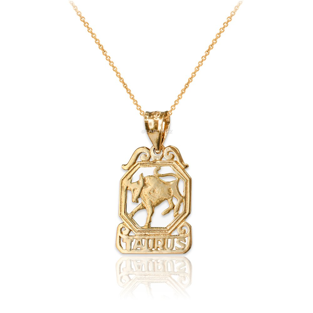 LA BLINGZ 10K Yellow Gold Open Design Taurus Zodiac Charm Necklace