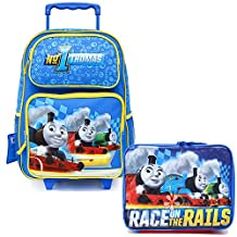 Thomas Tank Engine Friends School Roller Backpack Lunch Bag 2pc Set Rolling Set