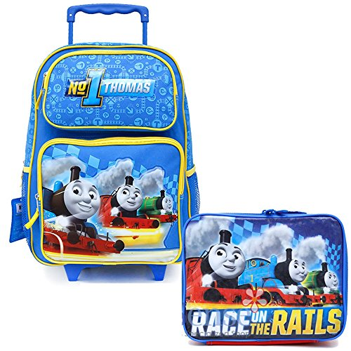 Thomas Tank Engine Friends School Roller Backpack Lunch Bag 2pc Set Rolling Set