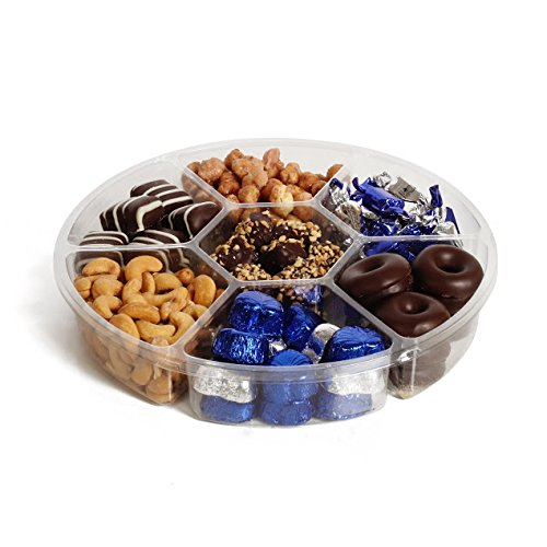 The Chocolate Bar Chanukah Kosher Candy & Chocolate Gift Platter 4-sectional