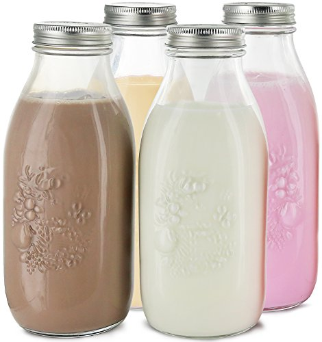 (Estilo Dairy Reusable Glass Milk Bottles with Metal Lids (Set of 4), 33.8 oz, Clear)