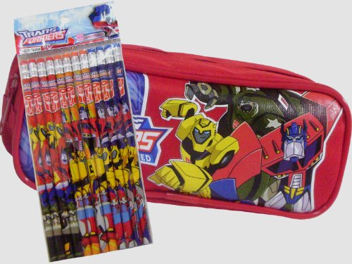 New Transformers Red Pencil Case and Pack of Decorated (Transformers Pencil Case)