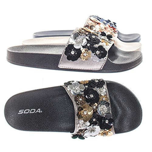 Molded Footbed Slides w Rhinestone Sequins Flower Embellishment