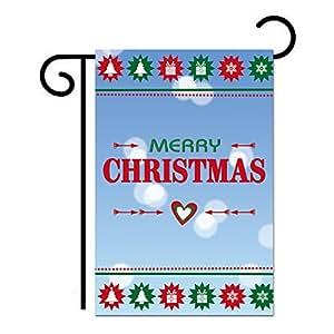 schlitzgnff Merry Christmas Garden Flag Nylon Winter Christmas Flag Holiday Decor 12*18inch
